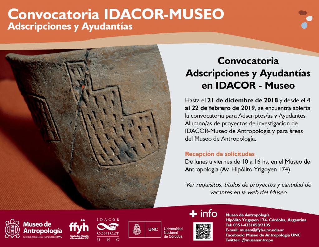 Convocatoria Adscripciones y Ayudantías en el Museo-IDACOR