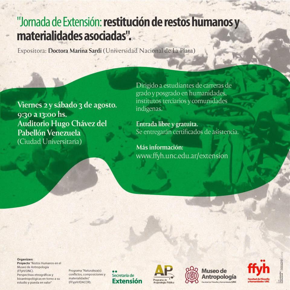 Jornada de Extensión: Restitución de restos humanos y materialidades asociadas.